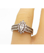 925 Silver - Vintage Cubic Zirconia Solitaire With Accents Ring Sz 6.5 -... - $26.35