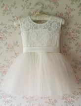 WHITE Lace Tutu Flower Girl's Dress White Knee Length Birthday Party Dresses NWT image 8