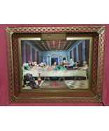 3D HOLOGRAM LAST SUPPER PICTURE LIGHT UP WITH BRASS FRAME - $74.25