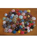 70 Mixed sizes Fabric YoYo's yo yos handmade trim applique yoyos yo yo  - $12.00