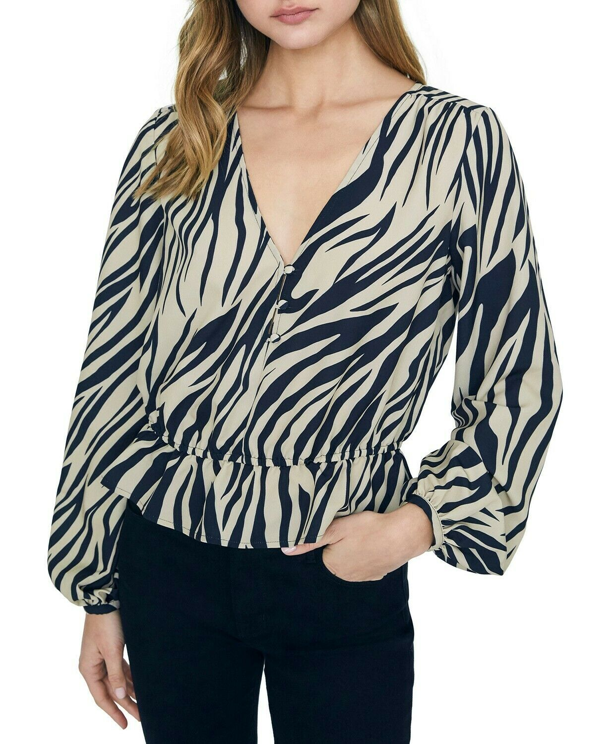 Primary image for Sanctuary All Nighter Zebra Peplum Top Blouse, New Romantic, S
