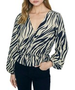 Sanctuary All Nighter Zebra Peplum Top Blouse, New Romantic, S - $28.35