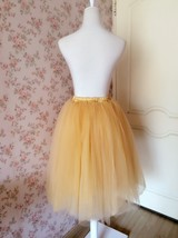 6 Layered Tulle Tutu Skirt Puffy Ballerina Tulle Skirt Apricot Plus Size image 3
