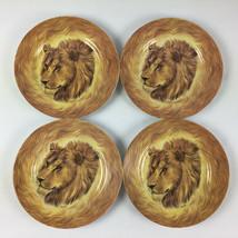 Lion Salad Plates Email de Limoges Wild Life Lot of 4 Fiorilli - $29.65