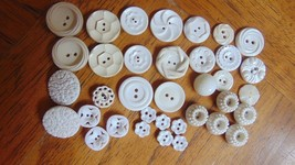 """Vintage White Buttons 36 Variety 1/2"""" to 1""""-Collection-Crafts - $7.99"""