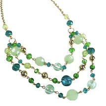2028 By 1928 Jewelry 3 Strand Crystal Beaded Necklace Celadon Green Aqua... - $14.99