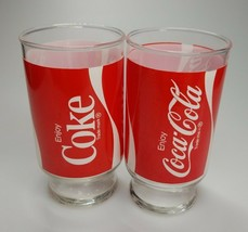 Coke Glasses Set 2 Coca Cola Red Vintage 14oz - $18.50