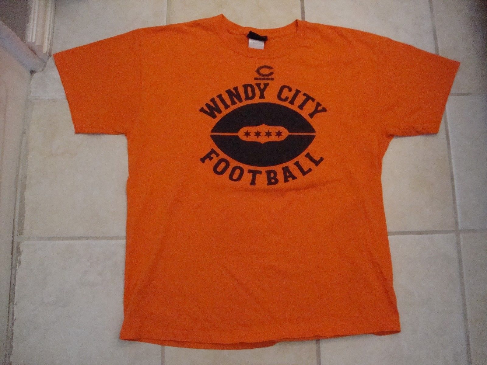 NFL Chicago Bears Football Windy City Sportswear Fan Orange T Shirt Size L