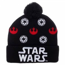 637e3d44c9d Star Wars Logo Black Cuff Pom Beanie Bioworld Winter Beanie Hat SALE -   17.81