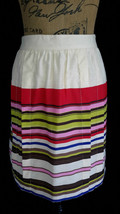 NEW Ann Taylor LOFT womens 6 M ivory multi color stripe pleat skirt NWT - $9.95