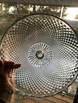 12 in Dia Large Cake Stand Diamond Point Long Prism Center Scallop Rim V... - $22.90