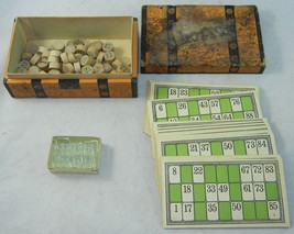 ANTIQUE McLOUGHLIN BROS 1885 LOTTO BOX GAME Complete Cards Glass Marks W... - $30.79