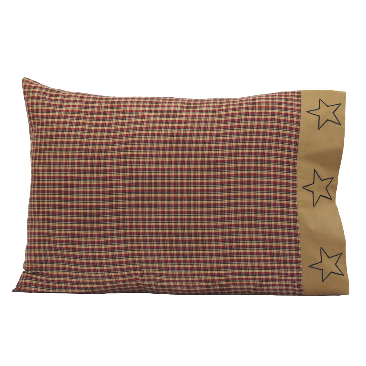 4 Patriotic Patch Plaid Pillow Cases - Star Border- Red, Navy and Tan - VHC