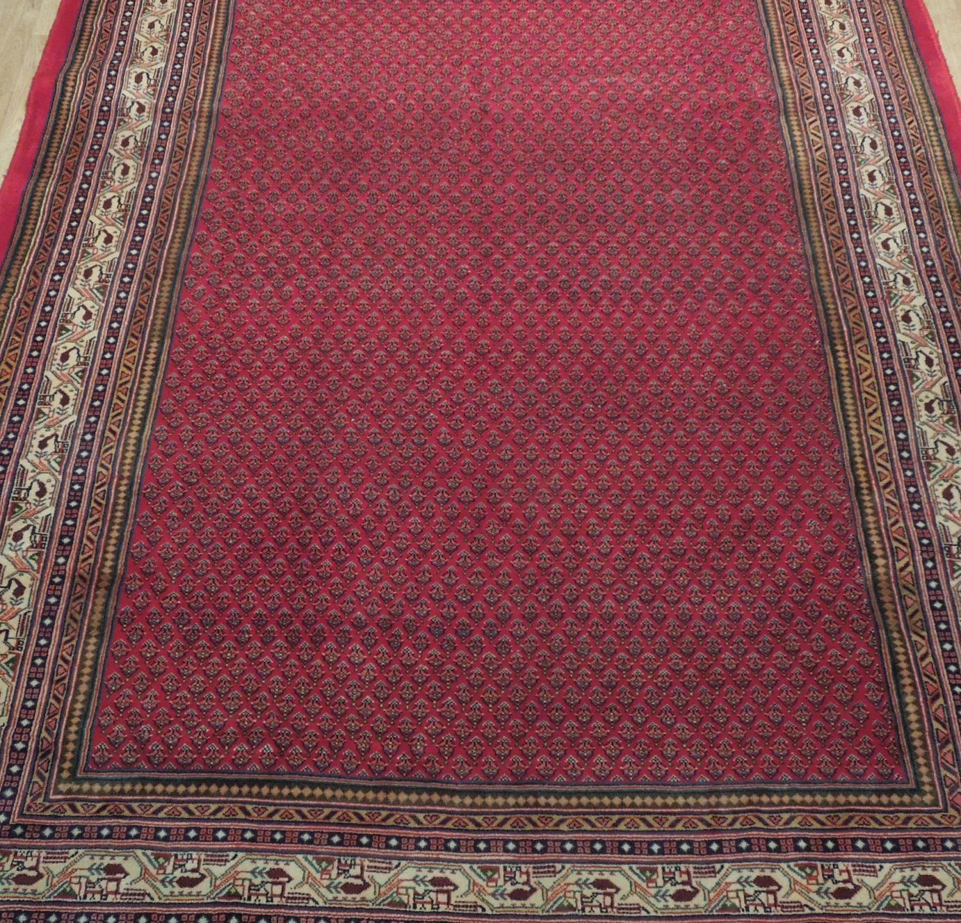 Vivid Boteh Flamed All-Over Persian Hand-Knotted 7x10 Red Mir Wool Area Rug image 9