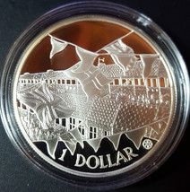 COOK ISLANDS 2002 $1 SILVER PROOF 22k Gold Cameo CROWN COIN GOLDEN JUBILEE  - $35.25