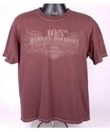 HARLEY DAVIDSON Motorcycles Shirt-L-Brown w White Stitching-105th-2008-B... - $33.65