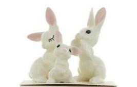 Hagen Renaker Miniature Rabbit White Bunny Family 3 Piece Set image 1