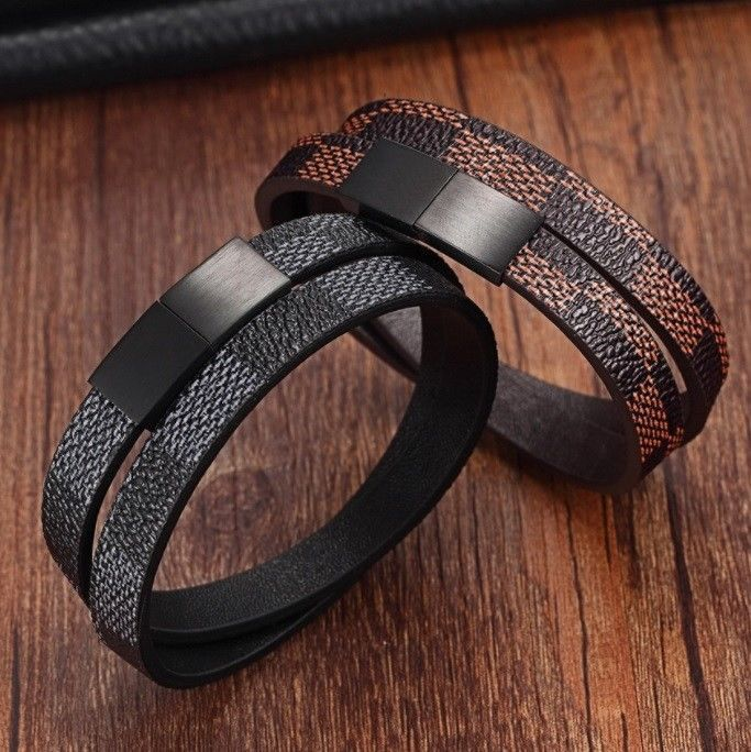 New Designer Mens Womens Leather Cuff Bracelet Brown Black Check Magnet Clasp $$