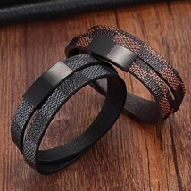 New Designer Mens Womens Leather Cuff Bracelet Brown Black Check Magnet ... - $18.55
