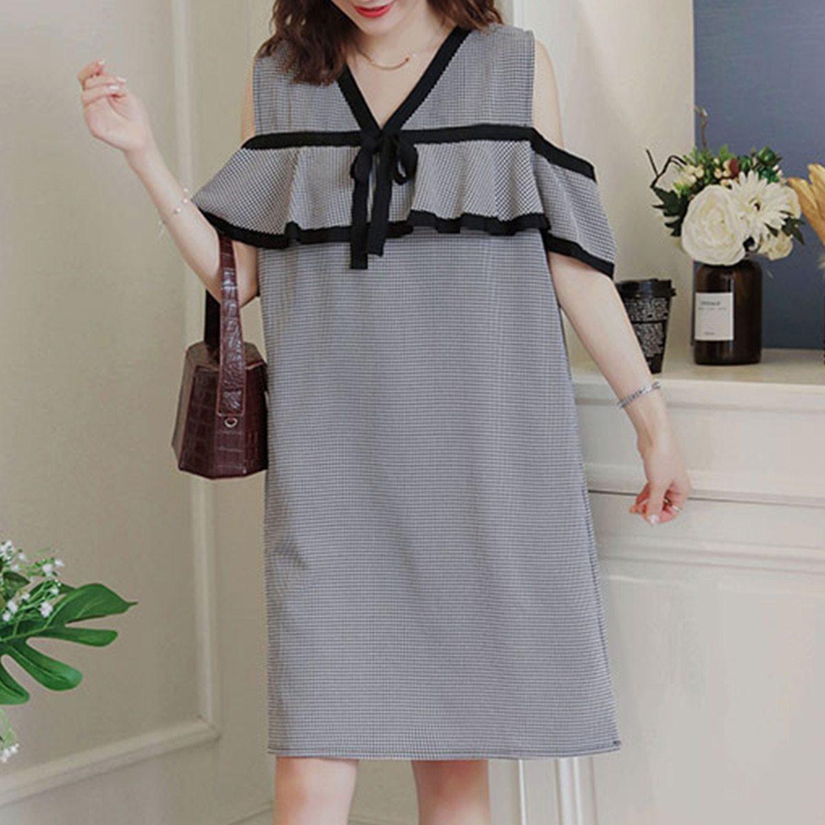 Maternity Dress Off The Shoulder Plaid Ruffles V-Neck Straight Dress image 2
