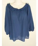 Cotton Bleu Boutique Ladies Blue Peasant Blouse Boho Shirt 3/4 Sleeve Size M - $12.99