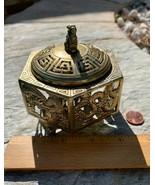 Vintage Brass Fu Foo Lion Dog Shishi Censer Incense Burner Holder Dragon... - $42.06