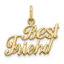 14k Yellow Gold Best Friend Charm Pendant 0.67 Inch