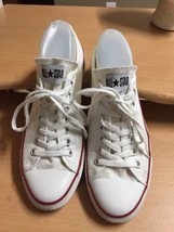 Converse All Star Sneakers Shoes, White Leather Low Tops, Men's 10 Womens 12  - $22.13