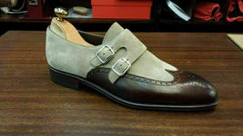Handmade Men's Brown Leather & Grey Suede Wing Tip Brogues Monk Strap Shoes image 4