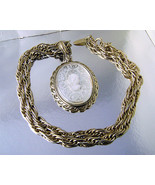 Vintage Whiting Davis Crystal Intaglio Cameo Goldttone Pendant Necklace. - $45.00