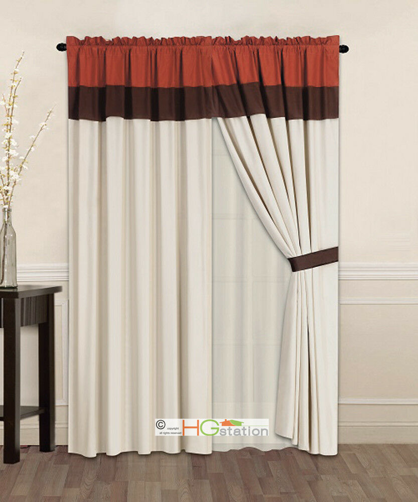 Primary image for 4P Striped Solid Curtain Set Rust Orange Brown Beige Valance Liner Drape Tieback