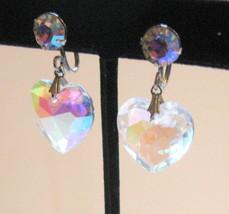 Vintage Aurora Borealis Crystal Heart Dangle Screw Earrings - $11.40
