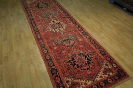 Tribal Inspired Olde Runner Persian Hand-Knotted 2' x 11' Red Heriz Wool Rug image 2