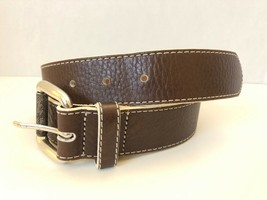Cole Haan Brown Leather with White Stitching Men's Belt size 34 - $101.52