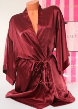 VS VICTORIA'S SECRET Satin Silky Kimono Robe Ties w Belt, 2 Pockets Bord... - $47.99