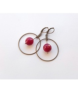 earrings crimson faceted agate in a ring. - $19.00