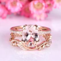 AAA Morganite & D/VVS1 Diamond 14K Rose Gold Over Silver Wedding Bridal Ring Set - $124.79