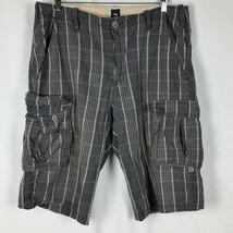 Gap Cargo Shorts Blue Plaid Mens 35 Button Closure Pockets 7 Pockets - $21.99