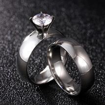 12mm Luxury Crystal Zircon Stainless Steel Wedding Ring Set