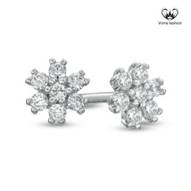Stud Earring Flower Style For Women's Diamond White Gold Over Pure 925 Silver - $45.88