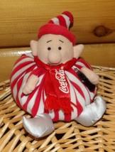 Coca Cola Coke Plush Beans Red & White Striped Santa's Elf Holds His Cok... - $9.89