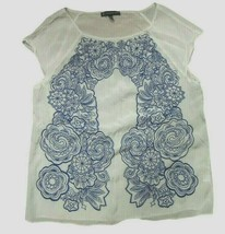 Adrianna Papell White Sleeveless Blouse with Dark Blue Embroidery, Size 14