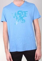 Versace MENS Logo Letterin Graphic V-Neck Blue Tee NWT