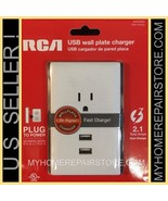US SELLER!—FREE S&H! RCA—DUAL USB—WALL PLATE 2.1 AMP FAST CHARGER—4 ALL ... - $15.00