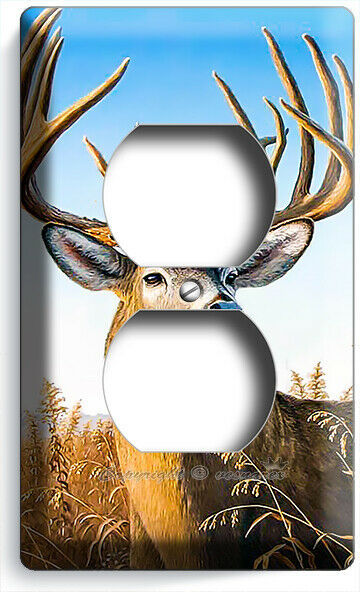 WHITETAIL DEER BUCK ANTLERS OUTLET WALL PLATE LOG CABIN ROOM FARM HOUSE HD DECOR