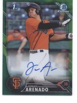 2016 Bowman Chrome Prospects Autographs Refractors Green Jonah Arenado R... - $80.00