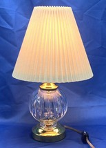 "Vintage 8"" Waterford Crystal & Brass Crystal Globe Table Lamp With Shade - $150.93"