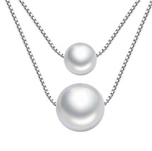 925 Silver Necklace AAAA Grade 8+10mm Boutique Anti-allergy Pearl Neckla... - $50.99