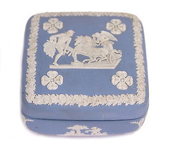 Wedgwood Light Blue Jasperware Square Ulysses Classical Chariot Race Tri... - $18.66