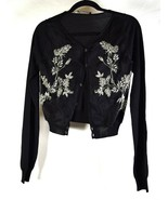 Dsquared2 Dsquared Cardigan Black Embroidered Flower LS M Womens Italy - $173.25
